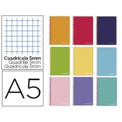 Espiral A5 micro Witty tapa dura 140h 75gr cuadro 5mm 5 bandas 6 taladros colores surtidos