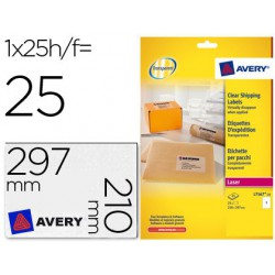 Etiqueta Avery A4 transparent 210x297mm 25 fulls