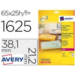 Etiqueta Avery A4 transparent 38,1x21,2mm 25 full