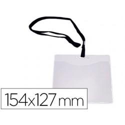 Identificador con cordon plano negro A6 154x127mm apertura superior