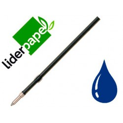 Recambio boligrafo Liderpapel gummy touch retractil 1,0mm tinta azul 10u.