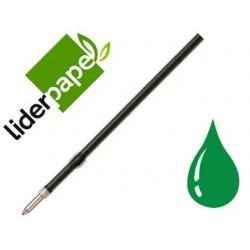 Recambio boligrafo Liderpapel gummy touch retractil 1,0mm tinta verde 10u.