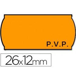 Etiquetas Meto onduladas 26x12mm pvp fnºAdh 2 -fluor naranja 1500 etiquetas
