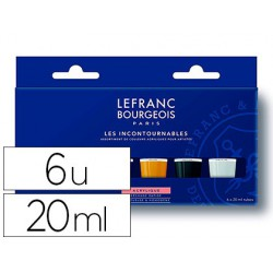 Pintura acrilica l&b fine set 6 colores 20 ml