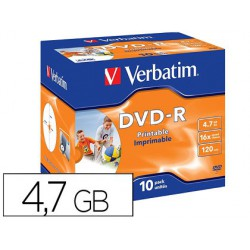 Dvd-r verbatim per imprimir 4.7GB 10u.