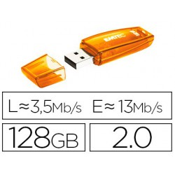 Memoria USB emtec flash c410 128 gb 2.0 naranja