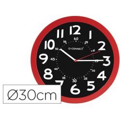 Rellotge de paret plàstic oficina rodó 30 cm vermell