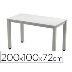 Mesa rectangular Executive aluminio/ gris 200x100cm.