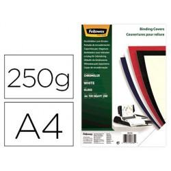 Tapa de encuadernacion Fellowes A4 carton brillo blanco chromolux 250gr 100u.