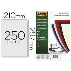 Tapa de encuadernacion Fellowes A4 carton similpiel cuero negro delta 250gr 100u.