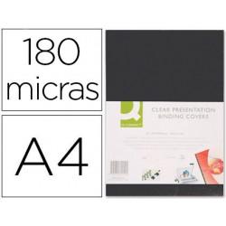 Tapas encuadernar PVC A4 opaca negra 180µ. 100u.