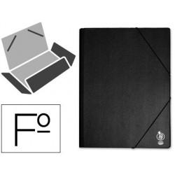 Carpeta gomas PVC folio 3 solapas negra