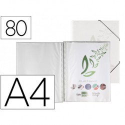 Carpeta amb fundes amb espiral A4 Transparent, 80 fundes