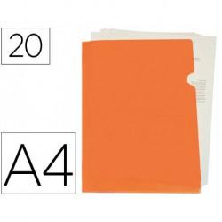 Dossier uñero A4 180µ con tarjetero 10u. naranja fluor opaco