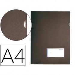 Dossier uñero A4 180µ con tarjetero 10u. negro opaco