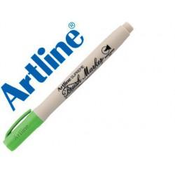 Rotulador pincel Artline supreme brush verde amarillento
