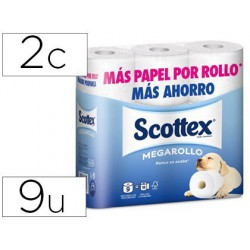 Papel higiénico Scottex megarrollo doble largo 9 rollos