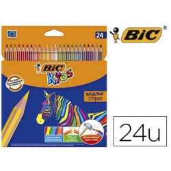 Lápiz de color Bic evolution stripes 24 colores