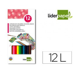 Lápices de colores acuarelables Liderpapel 12u.