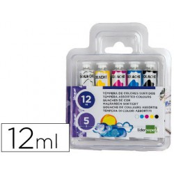 Tempera Liderpapel en tubo 5 colores 12ml.