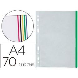Funda multitaladro A4 70µ. pp cristal borde verde 10u.